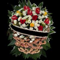 Coroa de Flores do Campo + 12 Flores Mistas Rosas e Antúrios