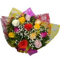 Buque de 10 Rosas Nacionais Coloridas