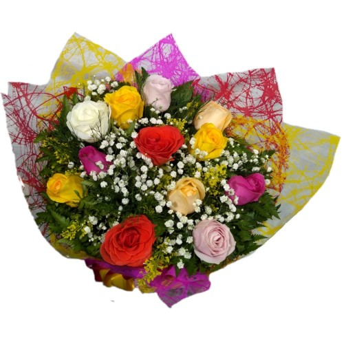 Buque de 12 Rosas Nacionais Coloridas