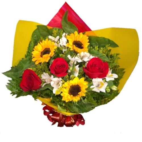 Buquê 3 rosas importadas com 3 Girassóis e Astromélias