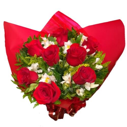Buquê 8 rosas importadas  com Astromélias