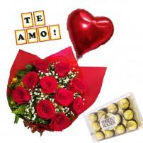 """Combo Buque de 10 rosas + Ferrero Rocher com 12 und. + Plaquinha """"TE AMO"""" + Balão Metalizado"""
