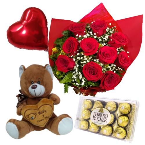 Combo Buque de 10 rosas + Ferrero Rocher com 12 und. + Balão Metalizado  + Pelúcia