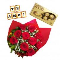 """Combo Buque de 10 rosas + Ferrero Rocher com 8 und. + Plaquinha """"TE AMO"""""""