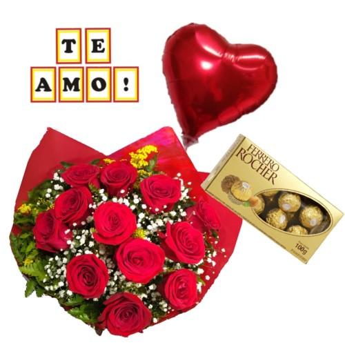 """Combo Buque de 12 rosas + Ferrero Rocher com 8 und. + Plaquinha """"TE AMO"""" + Balão Metalizado"""