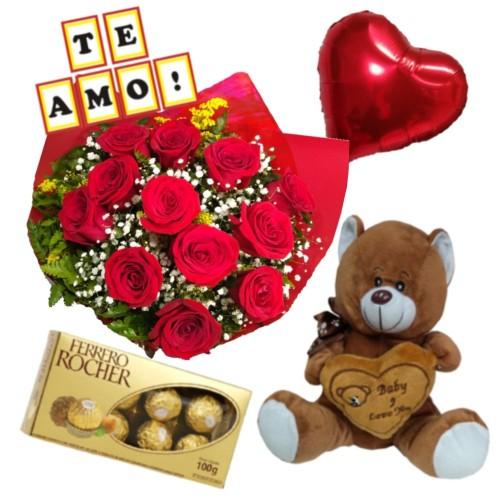 """Combo Buque de 12 rosas + Ferrero Rocher com 8 und. + Balão Metalizado + Plaquinha """"TE AMO"""" + Pelúcia"""