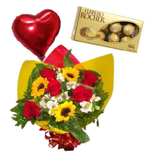 Combo Buque de 5 rosas, 3 girassóis e astromelias + Ferrero Rocher com 8 und. + Balão metalizado