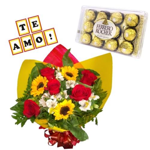 """Combo Buque de 5 rosas, 3 girassóis e astromelias + Ferrero Rocher com 12 und. + Plaquinha """"TE AMO"""""""