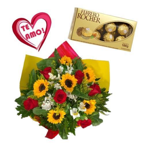 """Combo Buque de 6 rosas, 6 girassóis e astromelias + Ferrero Rocher com 8 und. + Plaquinha coração """"TE AMO"""""""
