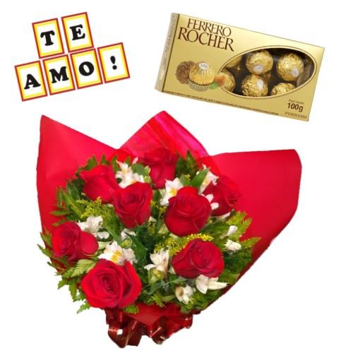 """Combo Buque de 8 rosas e astromelias + Ferrero Rocher com 8 und. + Plaquinha """"TE AMO"""""""