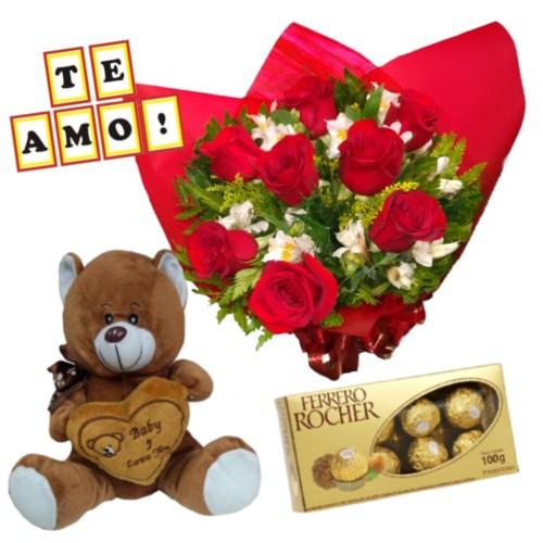 """Combo Buque de 8 rosas e astromélias  + Ferrero Rocher com 8 und. + Plaquinha """"TE AMO"""" + Pelúcia"""
