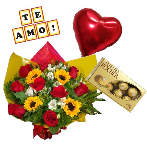 """Combo Buque de 9 rosas, 4 girassóis e astromelias + Ferrero Rocher com 8 und. + Plaquinha """"TE AMO"""" + Balão Metalizado"""