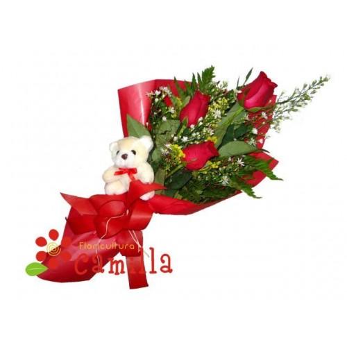 Ursinho Surpresa com Rosas Importadas