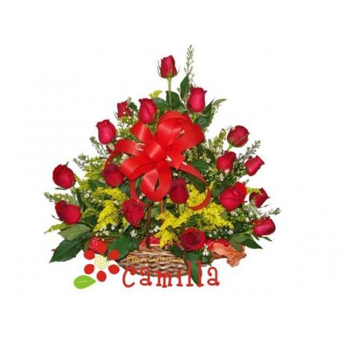 Cesta Super Romântica com Rosas Importadas