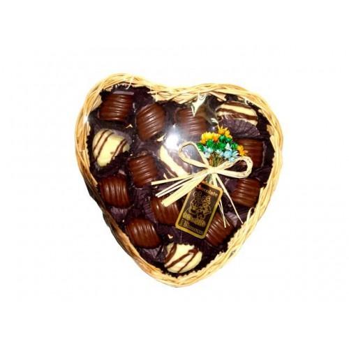 Bandeja de Vime Coração com Chocolate