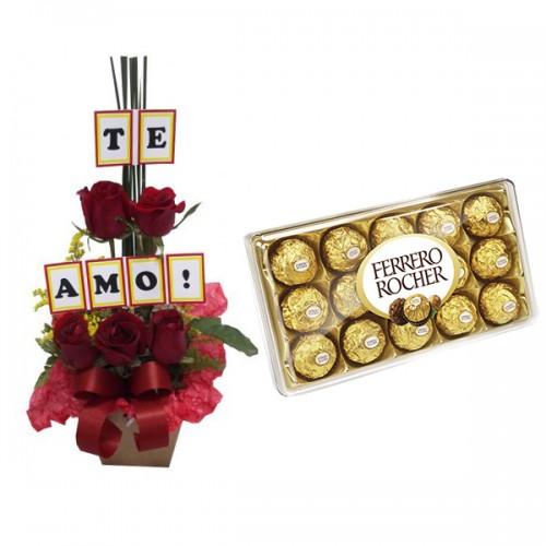 Combo Arranjo Rosas Te Amo + Ferrero Rocher com 12 und.