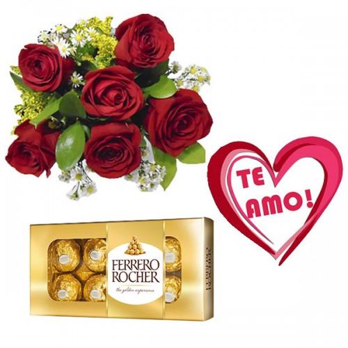 Combo Buque de 6 rosas + Plaquinha + Ferrero 8 und.