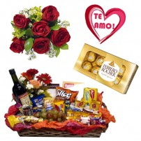 Combo Buque de 6 rosas + Plaquinha + Ferrero 8 und. + Cesta Gourmet