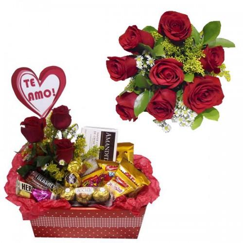 Combo Buque de 8 rosas + Cesta Com Amor