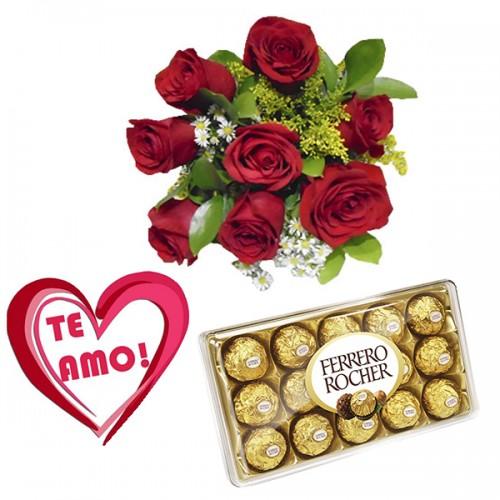 Combo Buque de 8 rosas + Plaquinha + Ferrero 12 und.