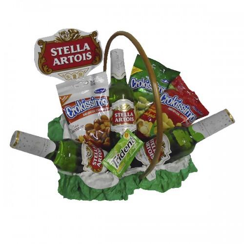 Cesta Amendoim com Cerveja Stella Artois